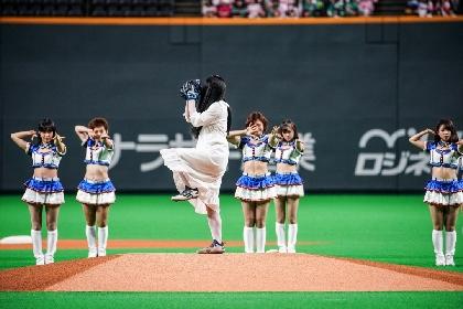 貞子が球速100キロ弱のスピードピッチを披露 「神聖な気持ち」で日ハム先発・バーベイトにつなぐ(動画あり)