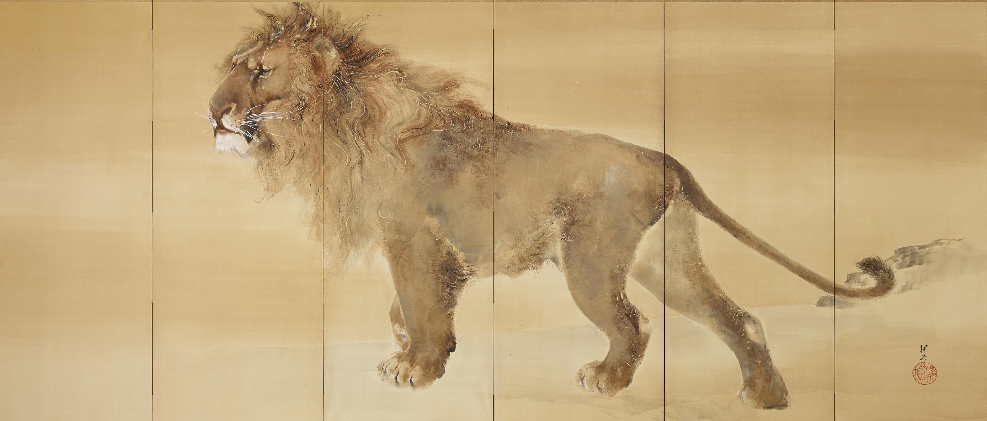《獅子虎図屏風》右隻 明治37年(1904) 個人蔵