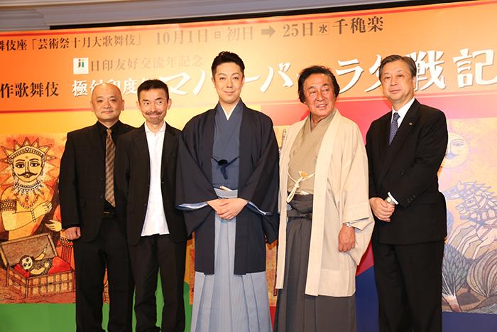 (左から)青木豪、宮城聰、尾上菊之助、尾上菊五郎、安孫子正