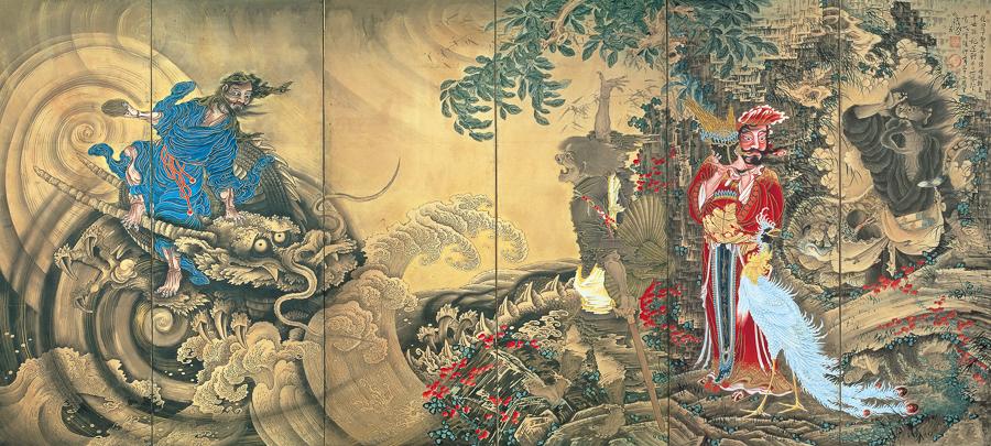 曽我蕭白《群仙図屏風》(右隻)明和元(1764)年 文化庁 重要文化財(展示期間:3月12日〜4月7日)