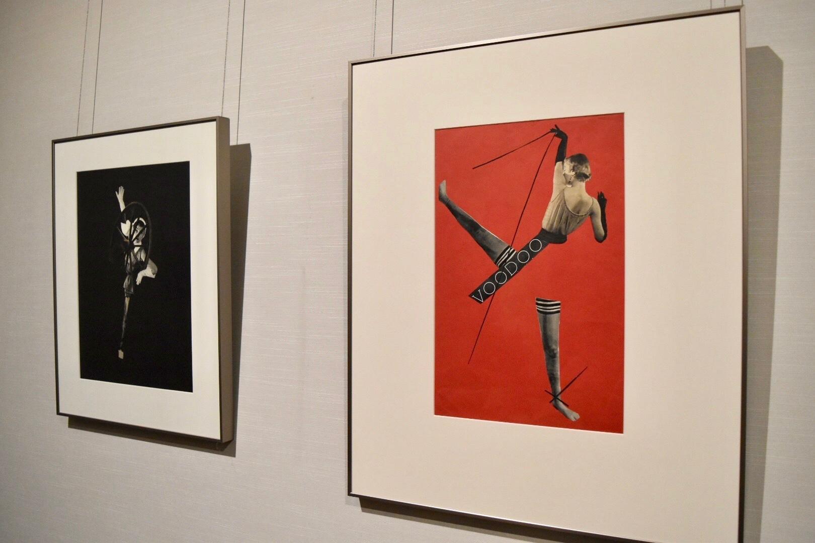 右:岡上淑子 《ポスター》(旧題:作品B) 1950年 左奥:岡上淑子 《轍》 1951年