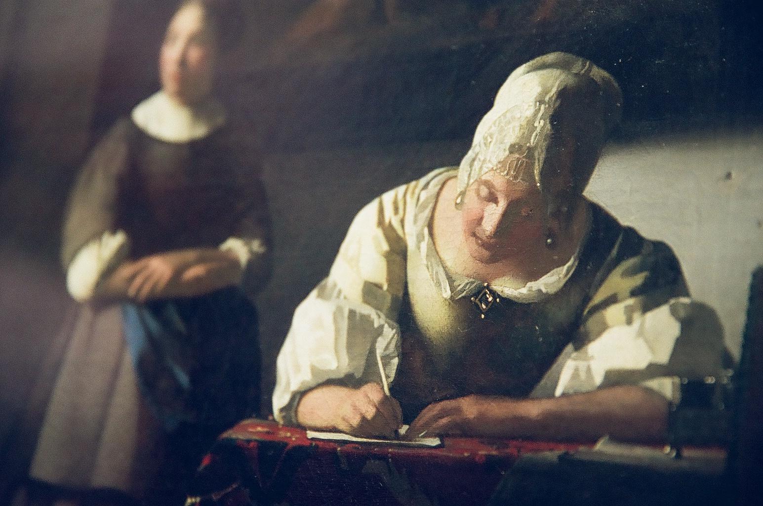 フェルメールの筆遣い、 息遣い。 (「手紙を書く婦人と召使い」アイルランド・ナショナル・ギャラリー)