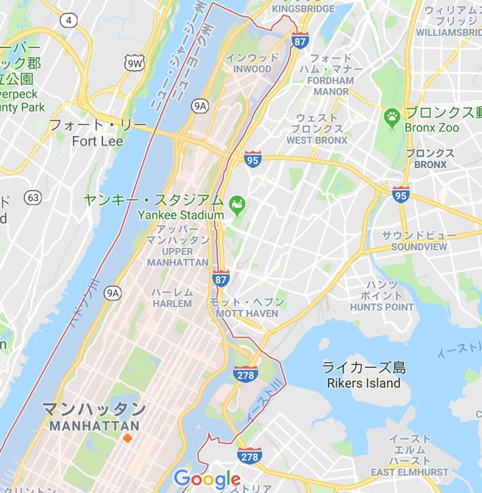 赤で囲ってあるのがマンハッタン島、赤い点がウォーバックス邸。東側にブロンクスが見える。