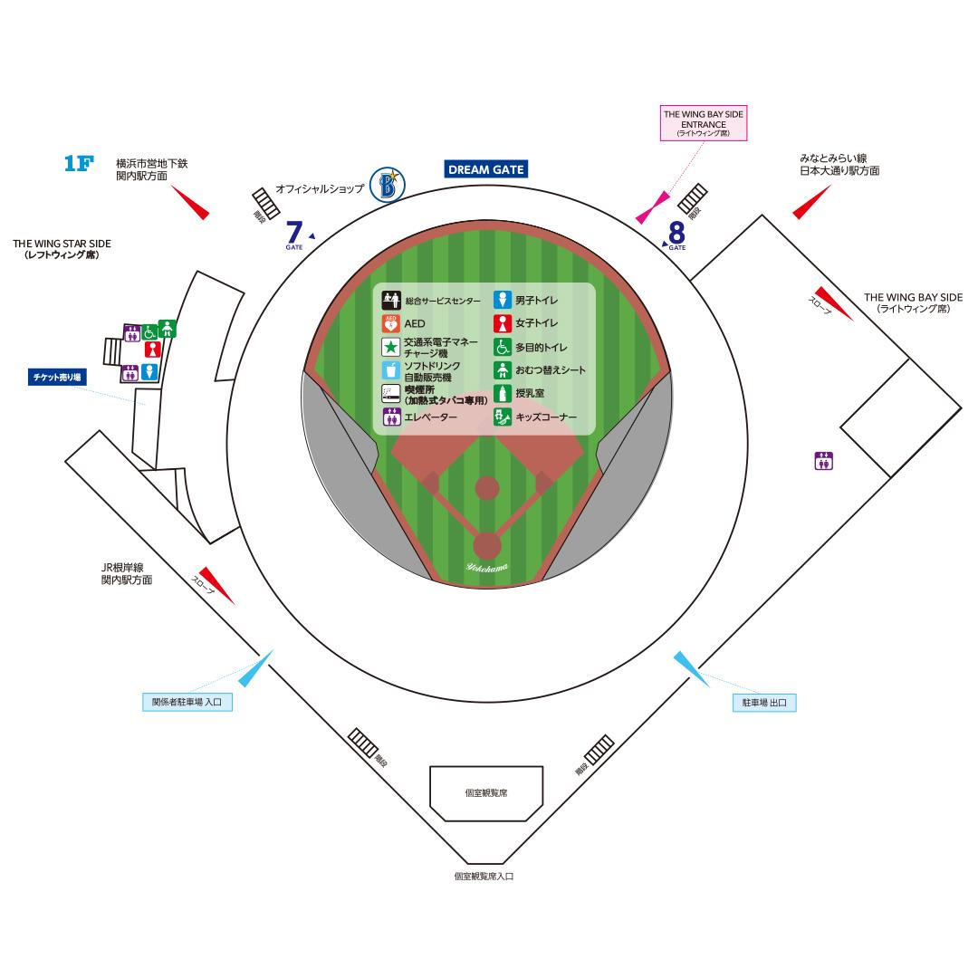 スタジアム1階のマップ (c)YDB
