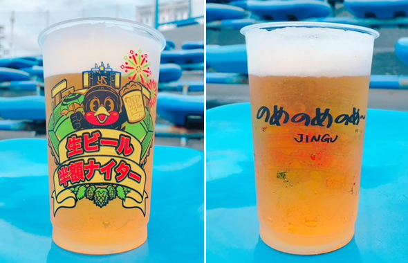 生ビールは限定デザインカップで販売される