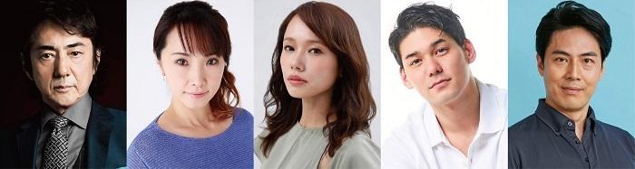 ミュージカル『オリバー!』キャスト。左から、市村正親、濱田めぐみ、ソニン、spi、原慎一郎。