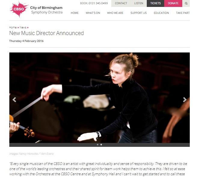 バーミンガム市交響楽団は公式サイトで新音楽監督を発表した