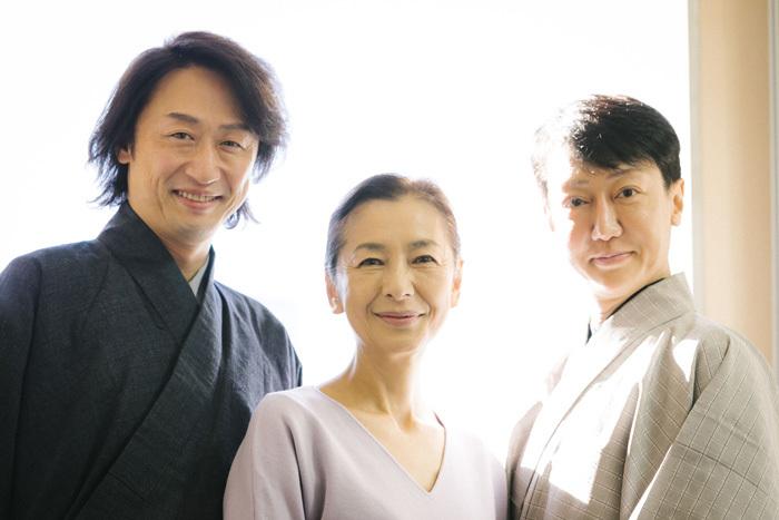 (左から)喜多村緑郎、高橋惠子、河合雪之丞