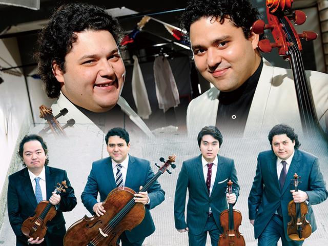 上:左よりシャンドル、アダム・ヤボルカイ 下:モーツァルトハウス・ウィーン弦楽四重奏団