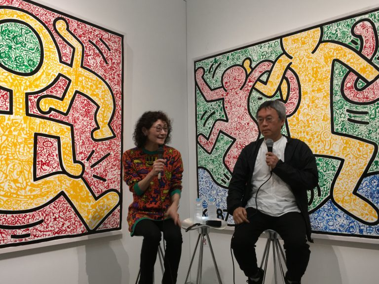 左:藤原えりみ氏 右:村田真氏   All Keith Haring Works ©︎ Keith Haring Foundation