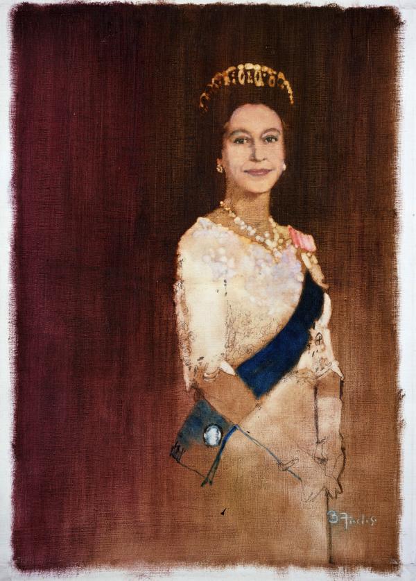 《Queen Elizabeth》油彩 キャンバス 63×43cm