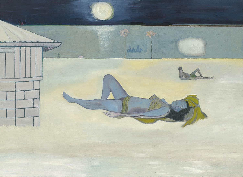 《夜の水浴者たち》2019年、 油彩・麻、 200×275 cm、 作家蔵  (C)Peter Doig. Courtesy Michael Werner Gallery,New York and London. All rights reserved,DACS & JASPAR 2020 C3120