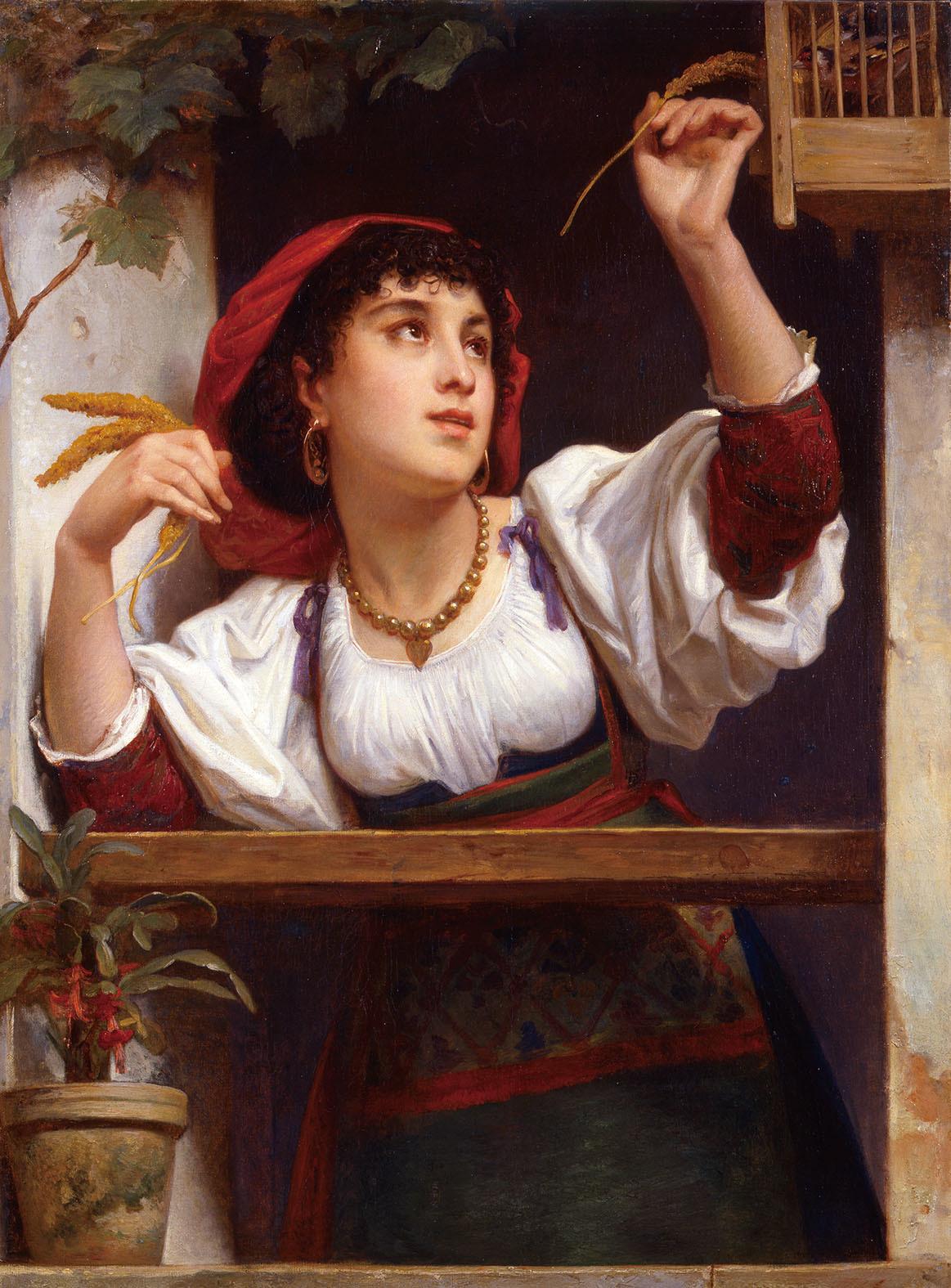 フェリックス・ジョゼフ・バリアス「お気に入りの鳴き鳥」1873年
