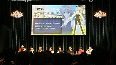 声優も開発スタッフもステージ上に勢揃い。MCはマフィア梶田