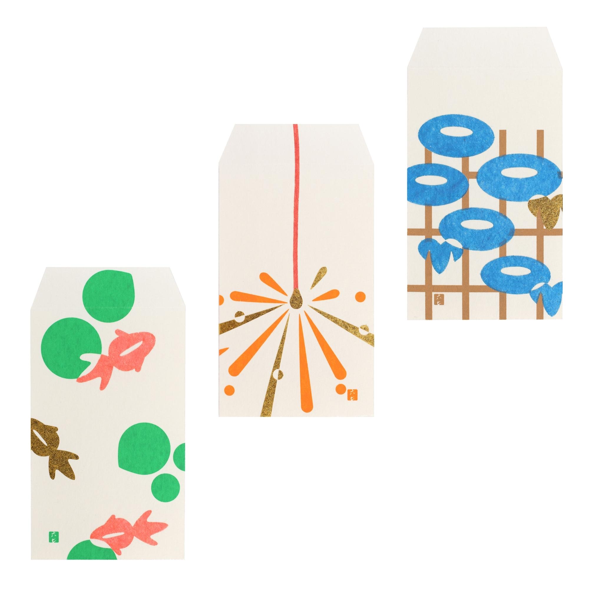 ぽち袋   販売価格:金魚、線香花火、朝顔 各300円 美濃和紙を使ったぽち袋に、色鮮やかな阿波和紙・越前和紙・美濃和紙の貼り絵で、日本の風景を描いた。