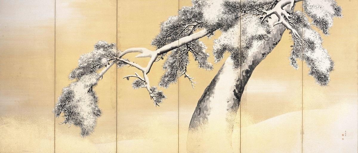 国宝 雪松図屏風(右隻)   円山応挙筆 東京・三井記念美術館 江戸時代・18世紀