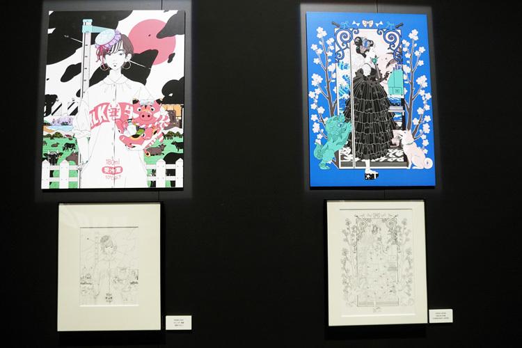 左:中村佑介 2021 カレンダー表紙(描き下ろし)、右:VOGUE JAPAN 2020年9月号(CONDÉ NAST JAPAN)