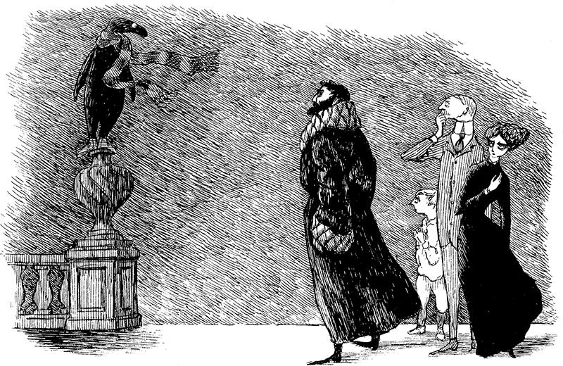 《うろんな客》1957年 挿絵・原画 ペン・インク・紙 エドワード・ゴーリー公益信託 (C)2010 The Edward Gorey Charitable Trust