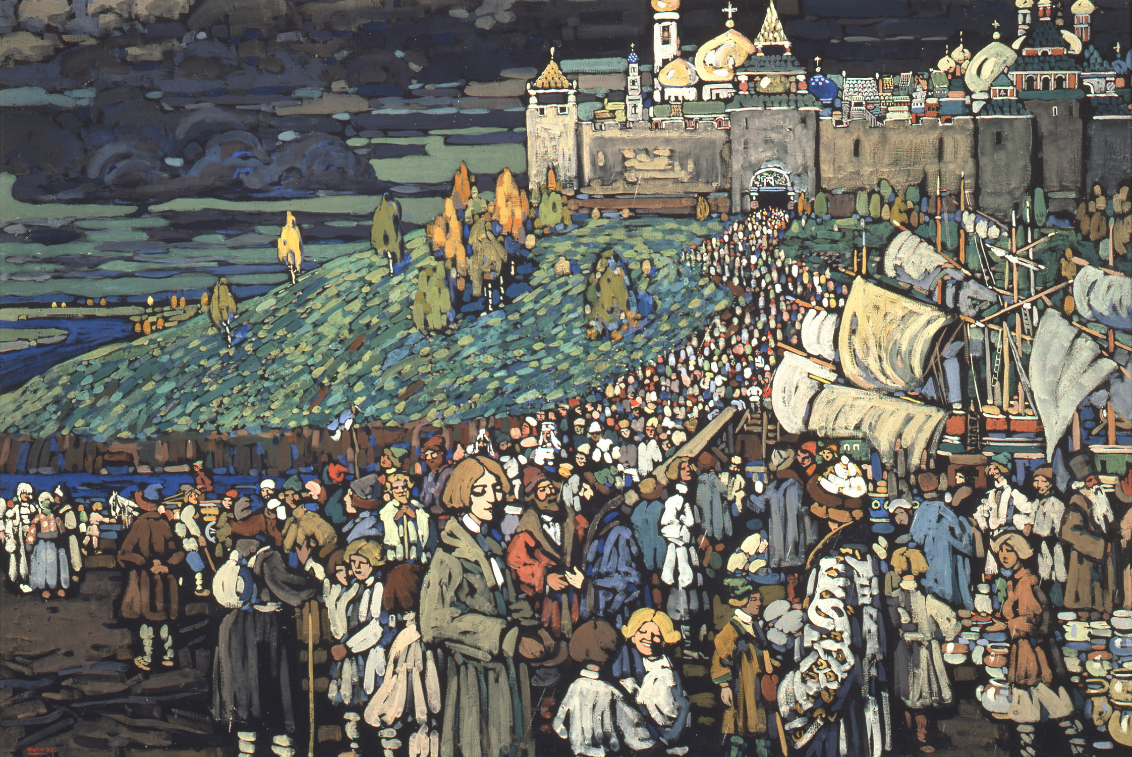 ヴァシリー・カンディンスキー《商人たちの到着》1905年 宮城県美術館蔵