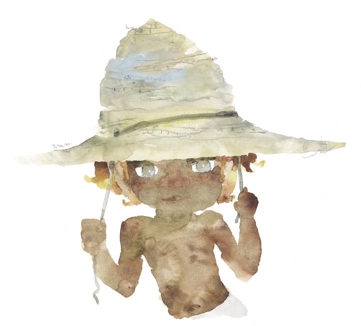 いわさきちひろ 麦わら帽子をかぶったおにた『おにたのぼうし』(ポプラ社)より  1969年