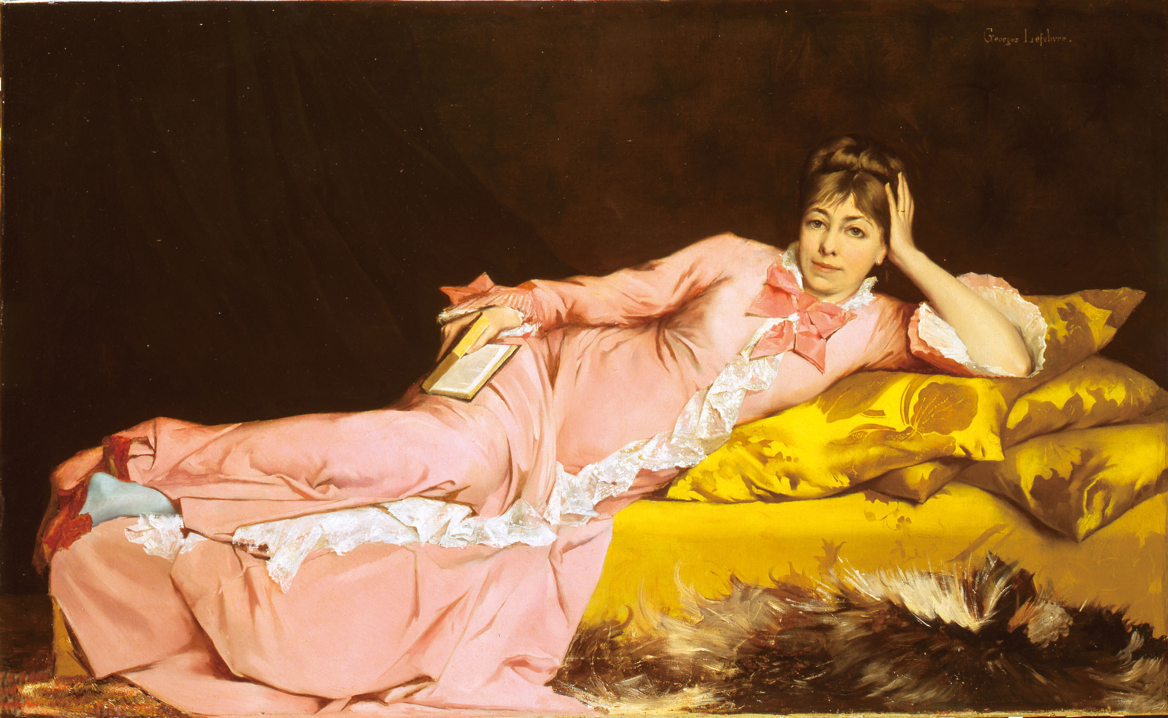 ジョルジュ・ルフェーヴル「青いストッキングをはいた女流詩人」1870年頃