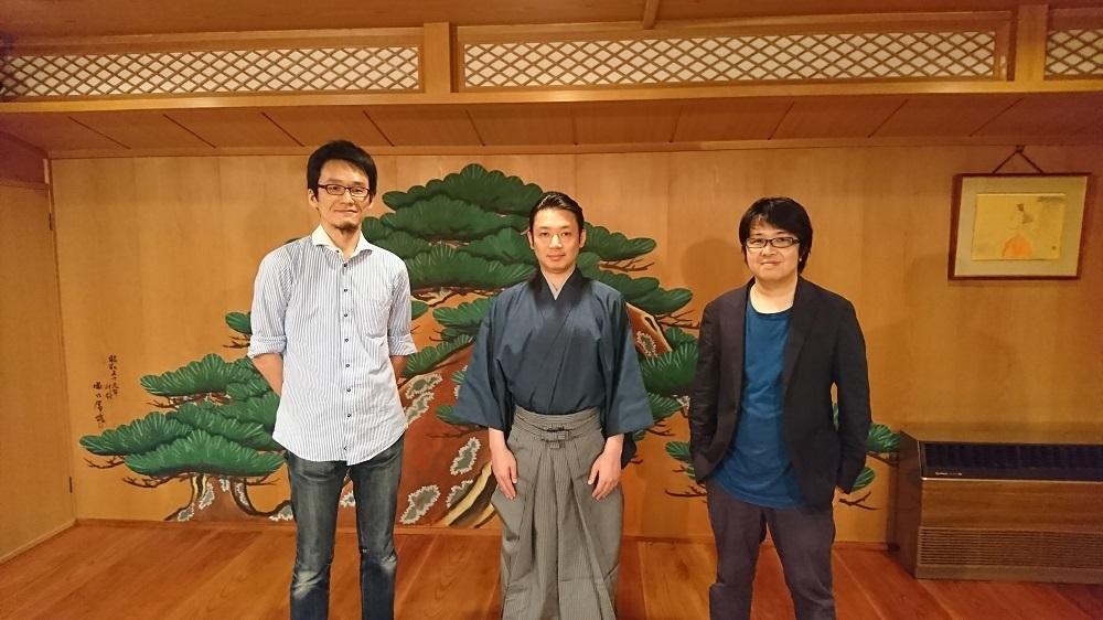 (左から)福地健太郎(明治大学 准教授)、坂口貴信、奥秀太郎 『3D能ADVANCED 「熊野」「船弁慶」より』
