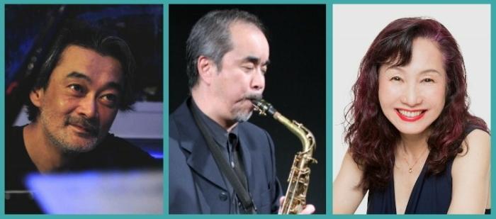 左から、石川武司pf、河田健as、キャンディー浅田vo