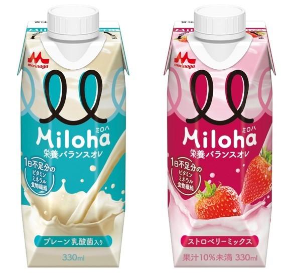 左:「Miloha」乳酸菌入りの甘酸っぱい味わい。 右:「Miloha ストロベリーミックス」ストロベリーをメインに、 カシスやリンゴ果汁を使用した フルーティーな味わい。