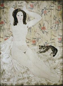 《タピスリーの裸婦》 1923年 京都国立近代美術館蔵 / (C) Fondation Foujita / ADAGP, Paris & JASPAR, Tokyo, 2017 E2833