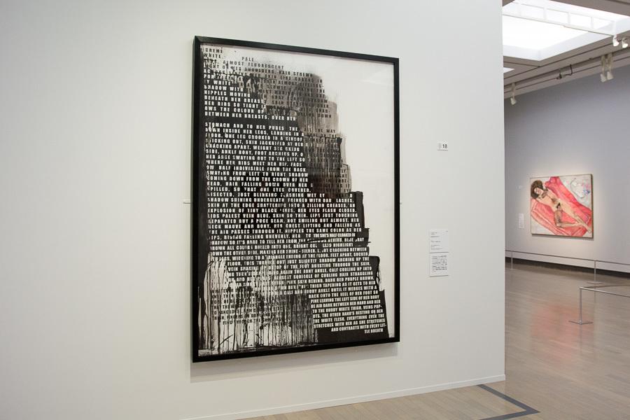 実際のモデルを前に、視覚から得た情報を言葉にした(ディスクリプションした)作品。フィオナ・バナー『吐き出されたヌード』2007年