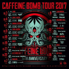 SHANK、SiM、G4N、dustbox、SHADOWS、打首らが『CAFFEINE BOMB TOUR 2017』に出演
