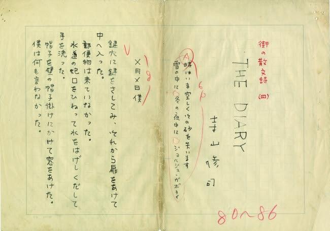 寺山修司肉筆原稿 SHUJI TERAYAMA「街の散文詩(四) THE DIARY」ペン書 400字詰18枚完