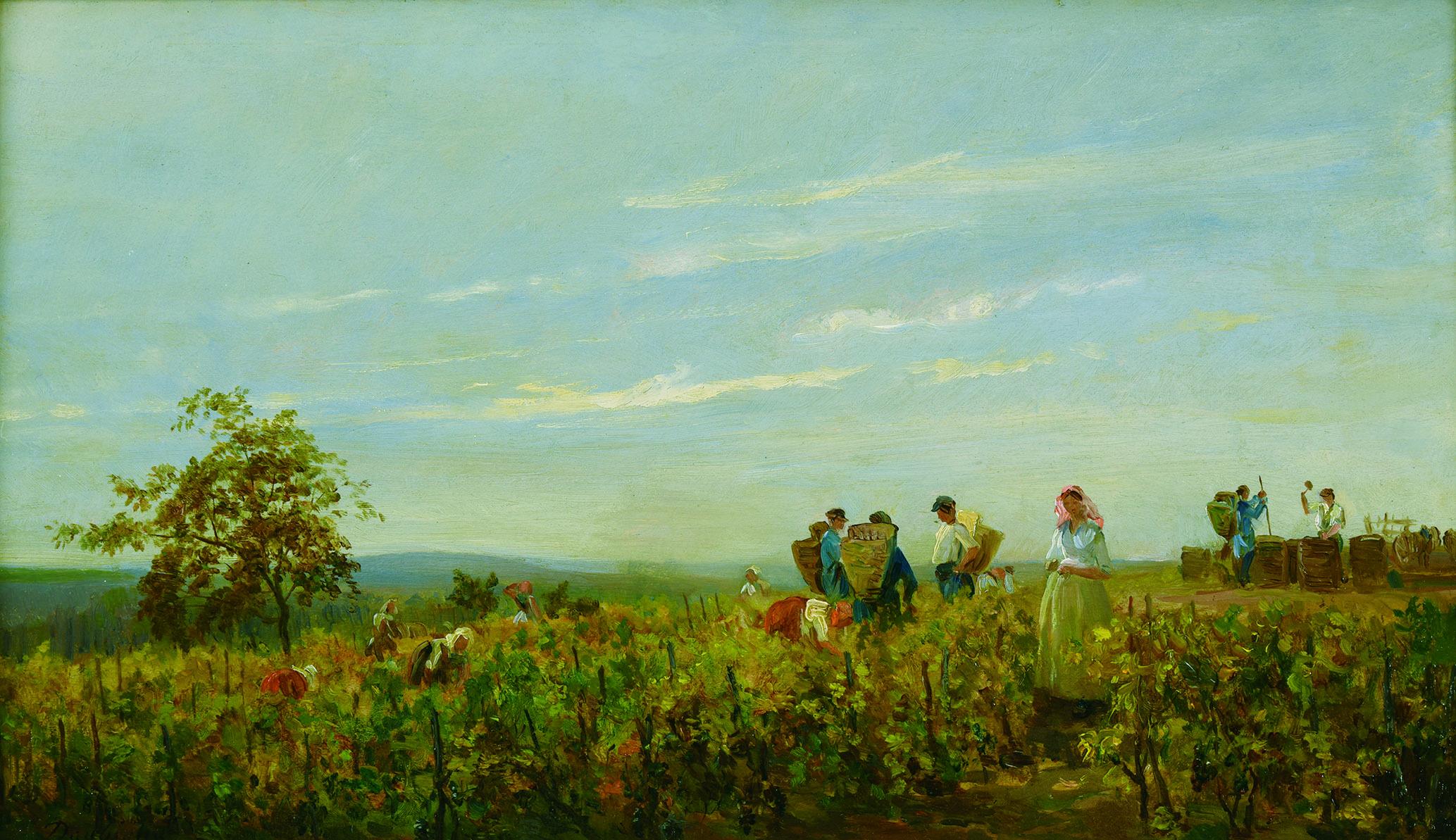 シャルル=フランソワ・ドービニー 《ブドウの収穫》 1863年頃 油彩/板 24.5×42.3㎝ フランス、個人蔵 (C)Christian Devleeschauwer