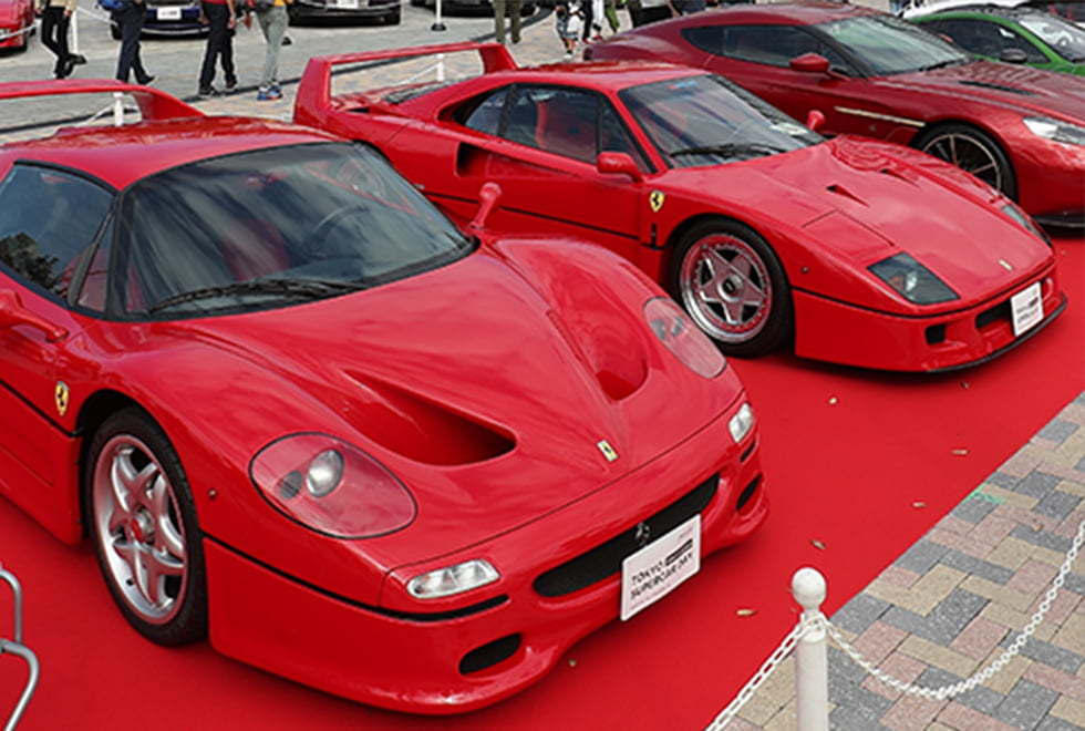 希少価値の高いスーパーカーを多数展示