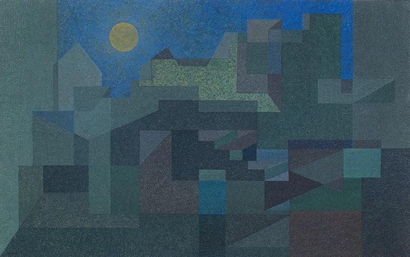 オットー・ネーベル《建築のフォルムと緑》1931年、不透明水彩・紙、ベルン美術館