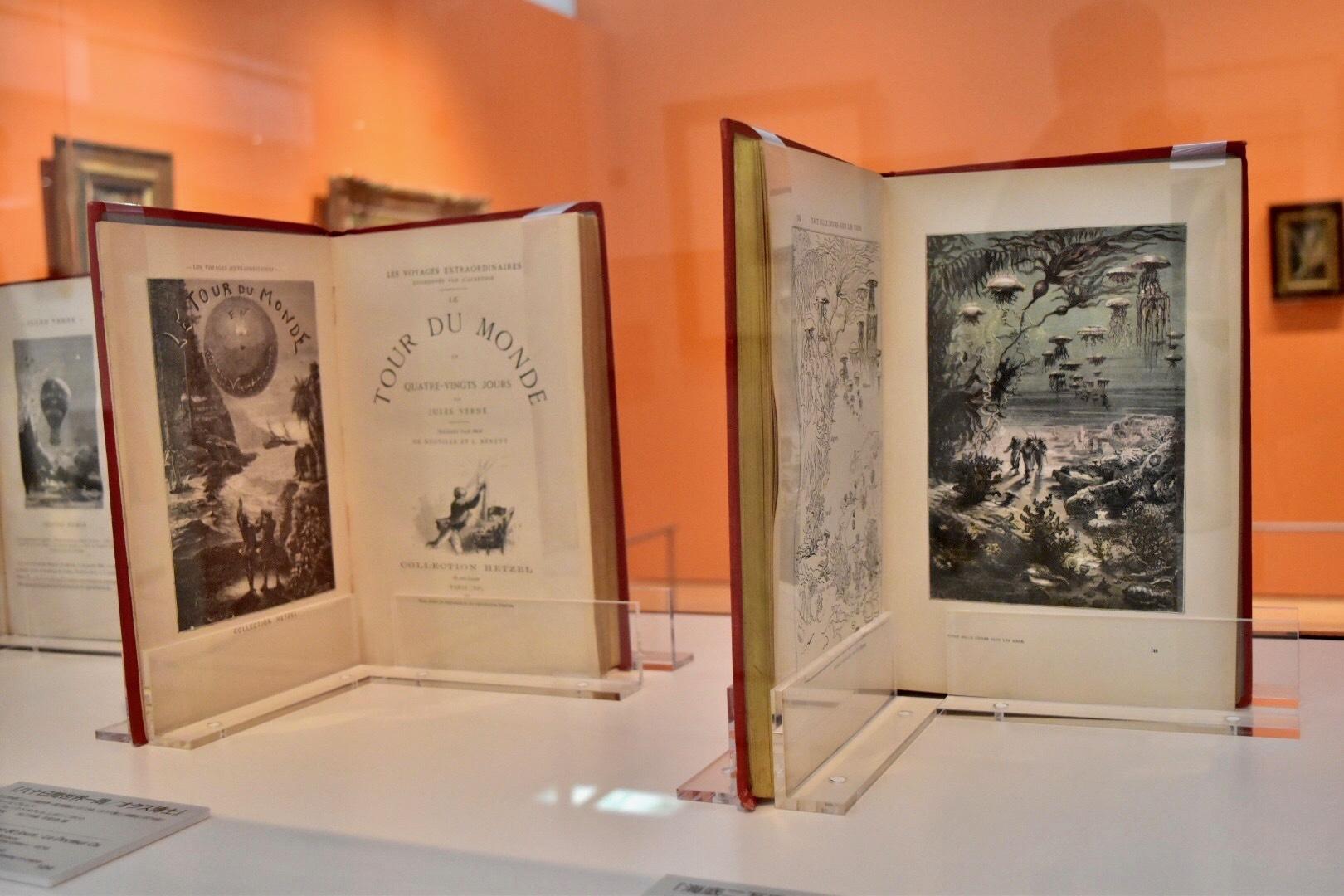 左:著・ジュール・ヴェルヌ 『八十日間世界一周/オクス博士』1910年頃 鹿島茂コレクション 右:同著者 『海底二万里』1910年頃(1869年初版) 鹿島茂コレクション