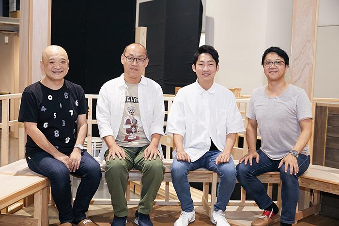 (左から)青木豪、山西惇、石田明(NON STYLE)、土田英生