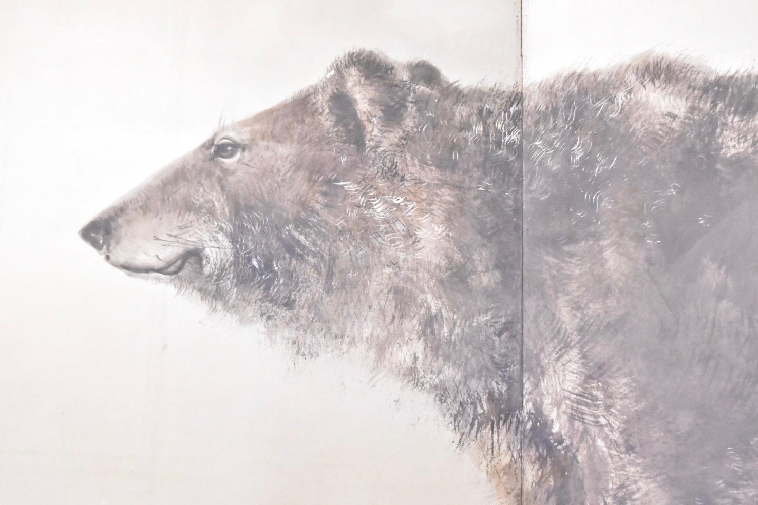 熊鷲図屏風(部分)明治時代 個人蔵