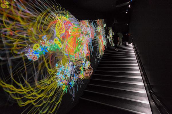 階段の壁を彩る「グラフィティ フラワーズ ボミング」
