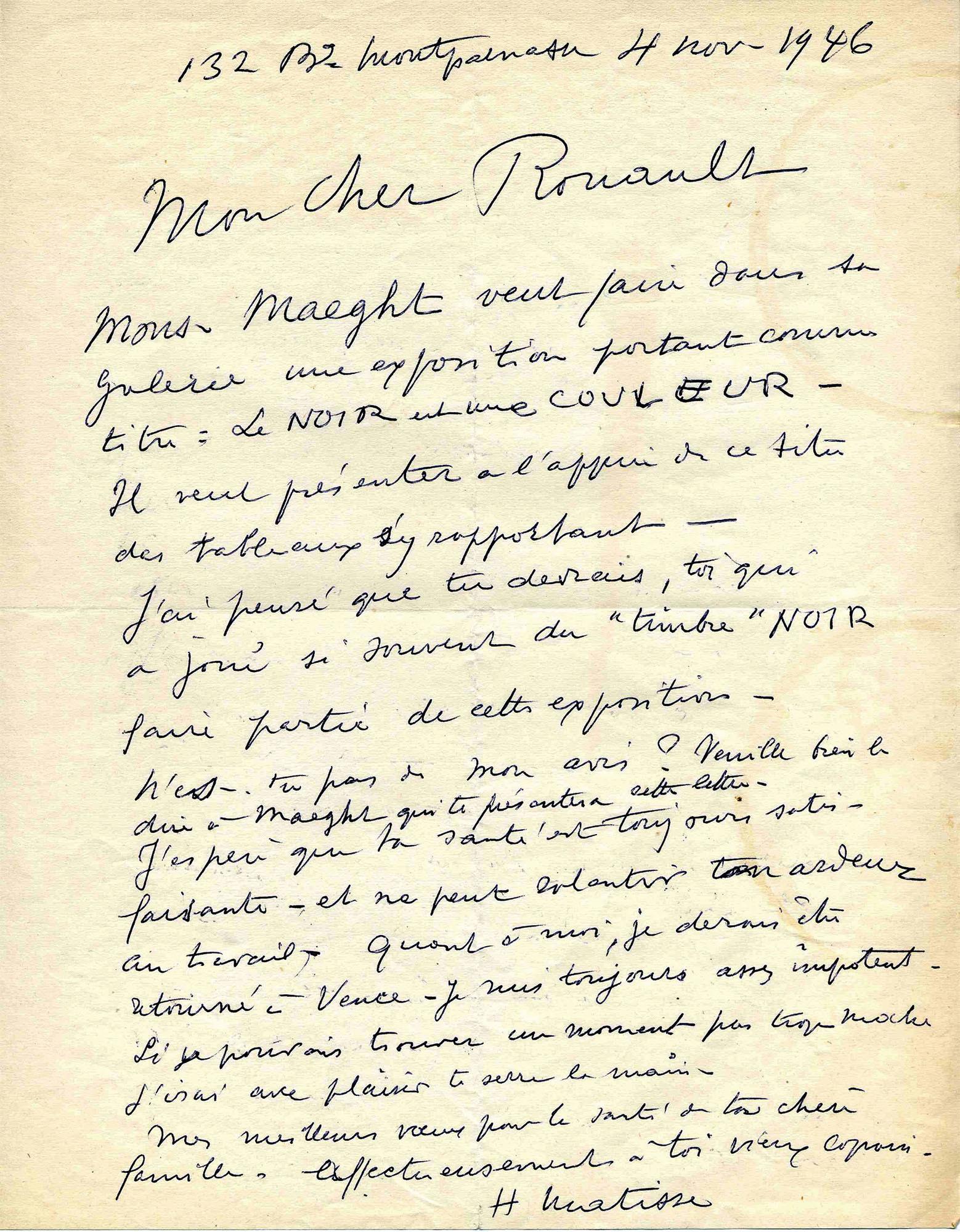 マティスからルオーへの手紙 1946年11月4日 ジョルジュ・ルオー財団、パリ