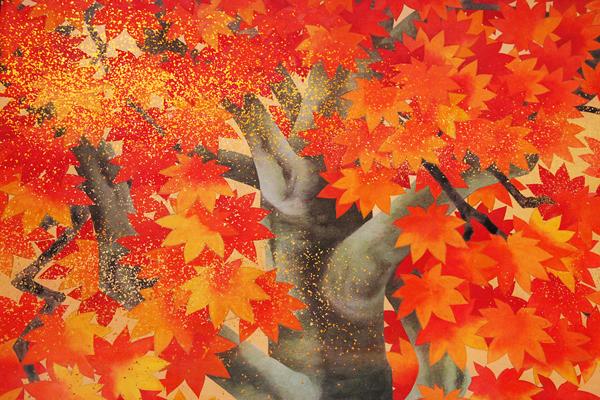 山口蓬春《新宮殿杉戸楓4分の1下絵》(部分)山種美術館 (C)公益財団法人 JR東海生涯学習財団