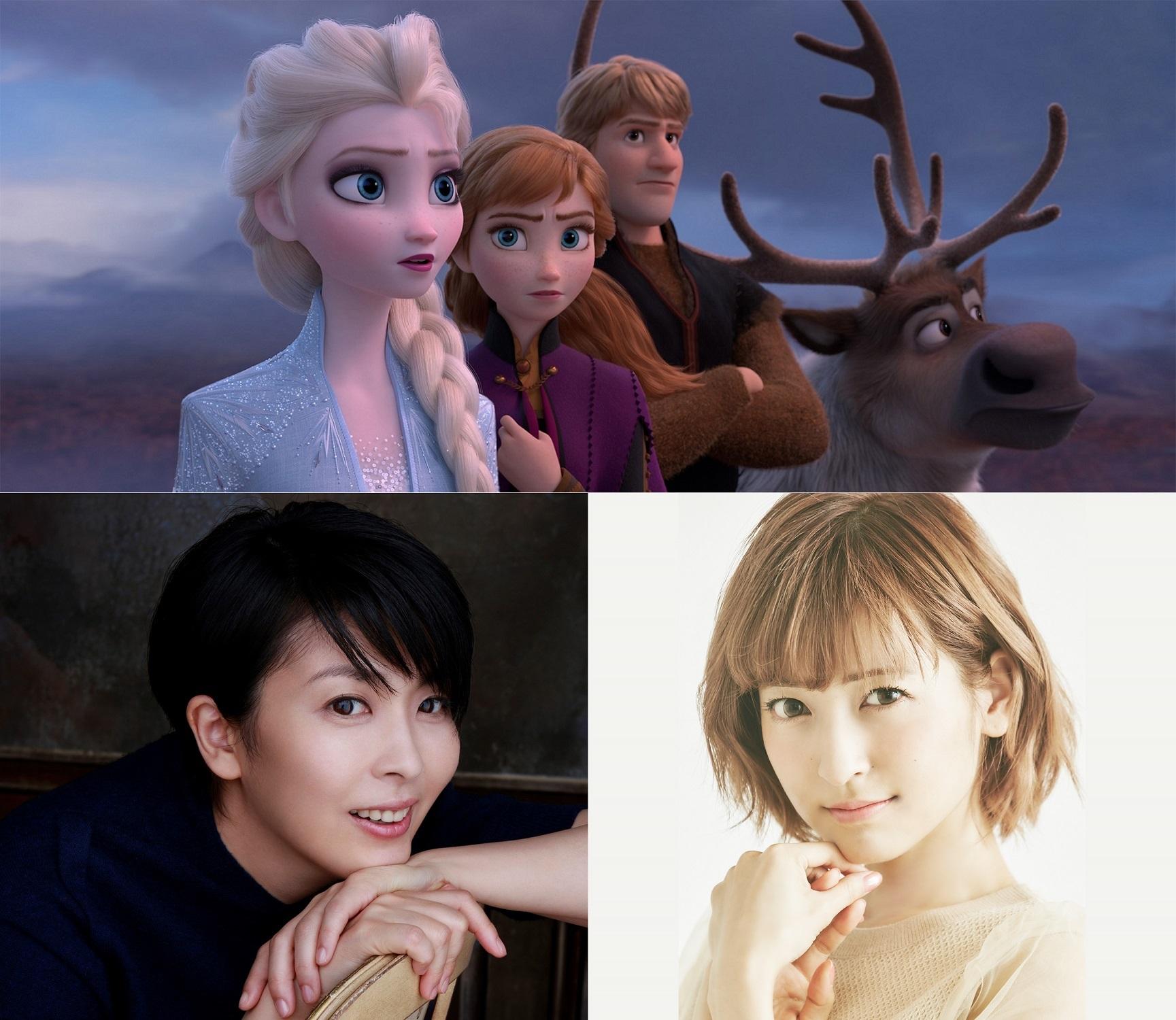 下段左から、松たか子、神田沙也加 (C)2019 Disney. All Rights Reserved.