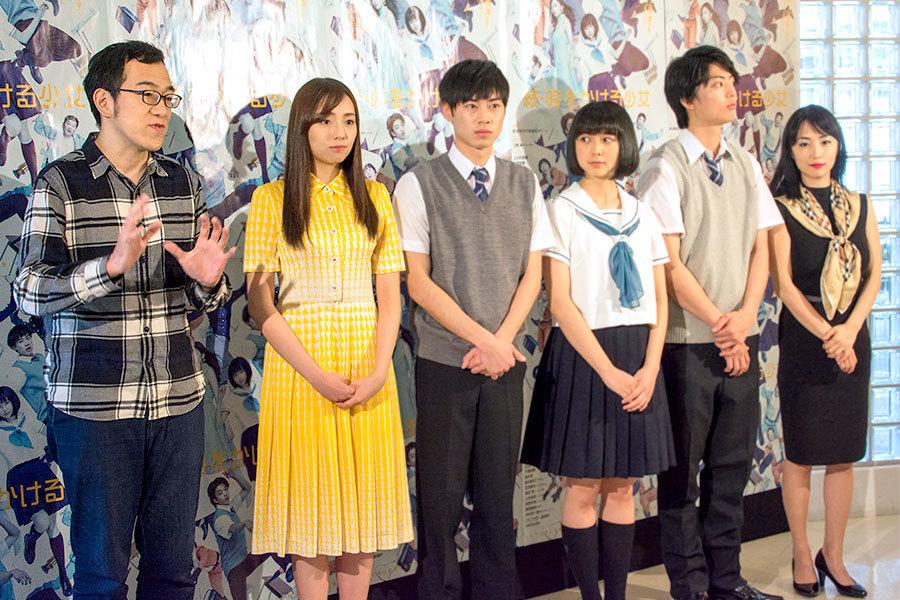『続・時をかける少女』左から、上田誠、新内眞衣、戸塚純貴、上白石萌歌、健太郎、MEGUMI