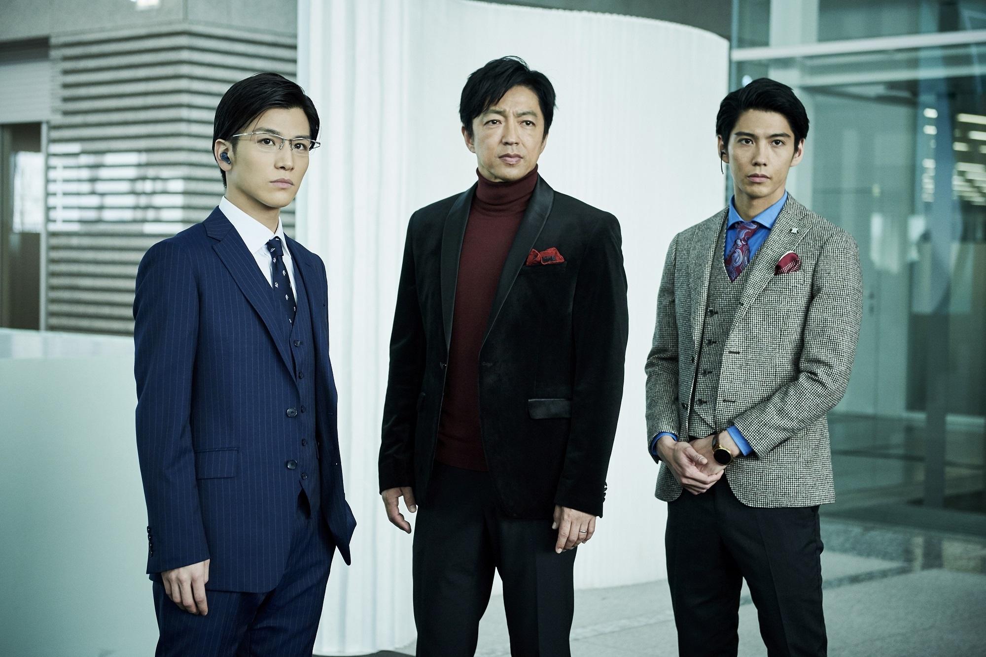 左から、岩田剛典(EXILE/三代目 J Soul Brothers)、大沢たかお、賀来賢人 (C)2019 映画「AI 崩壊」製作委員会