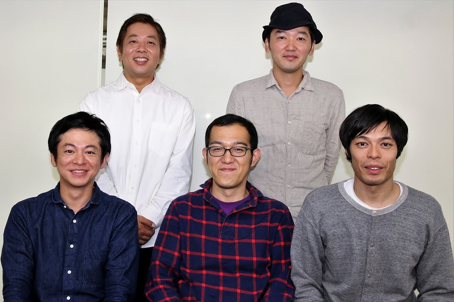 (左下から)永野宗典、上田誠、石田剛太、左上から諏訪雅、土佐和成