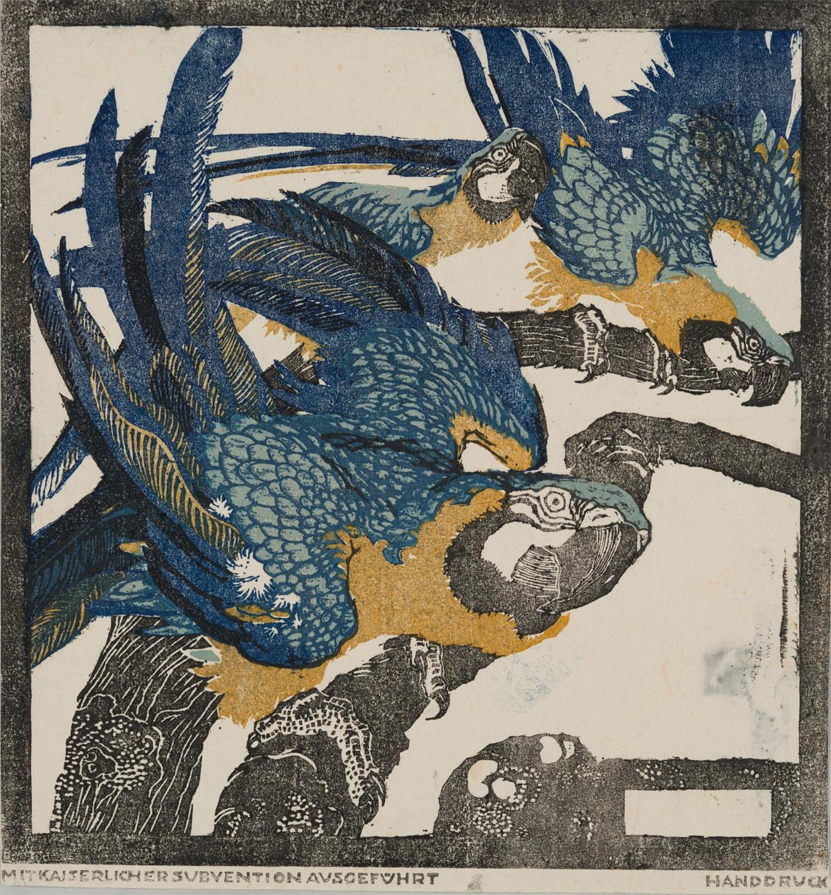 ルートヴィヒ・ハインリヒ・ユンクニッケル《三羽の青い鸚鵡》(連作「シェーンブルンの動物たち」より)1909年頃 京都国立近代美術館