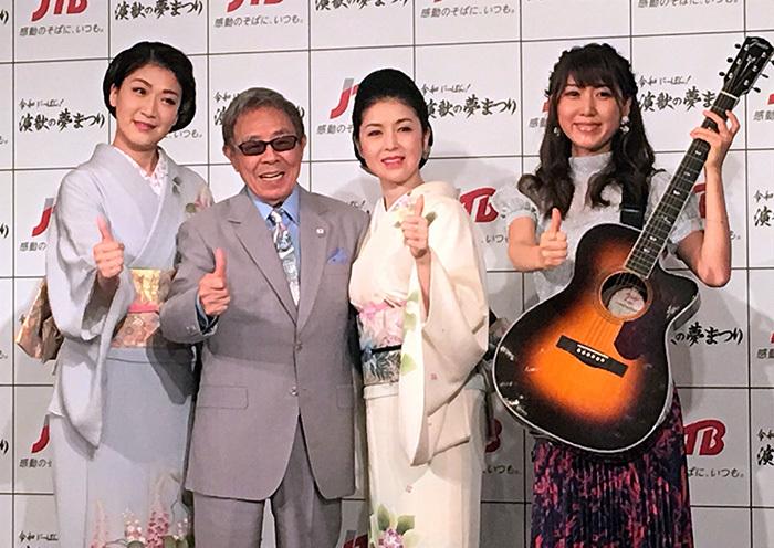 (左から)市川由紀乃、北島三郎、藤あや子、おかゆ