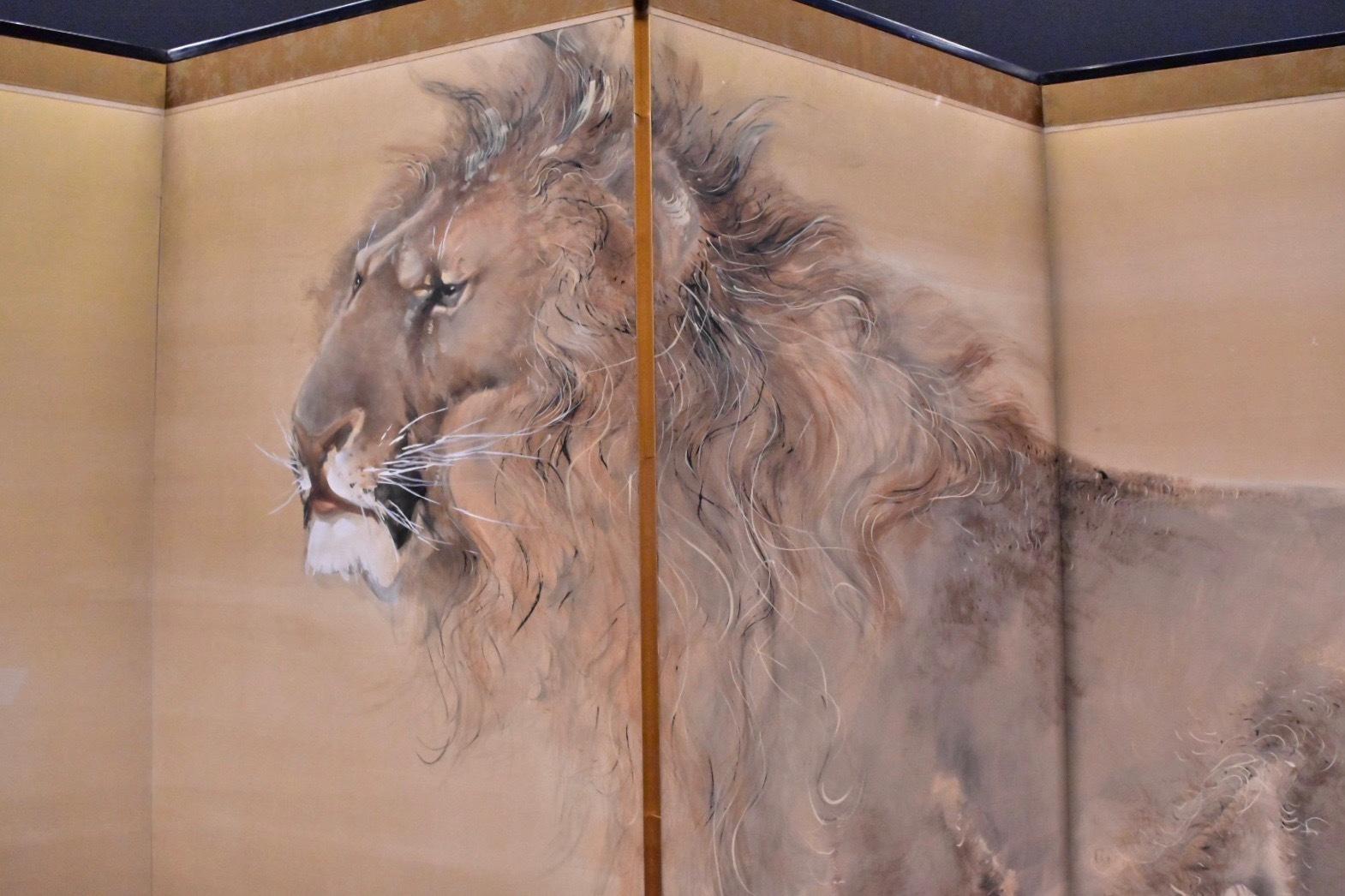 獅子虎図屏風(部分) 明治37年(1904)個人蔵