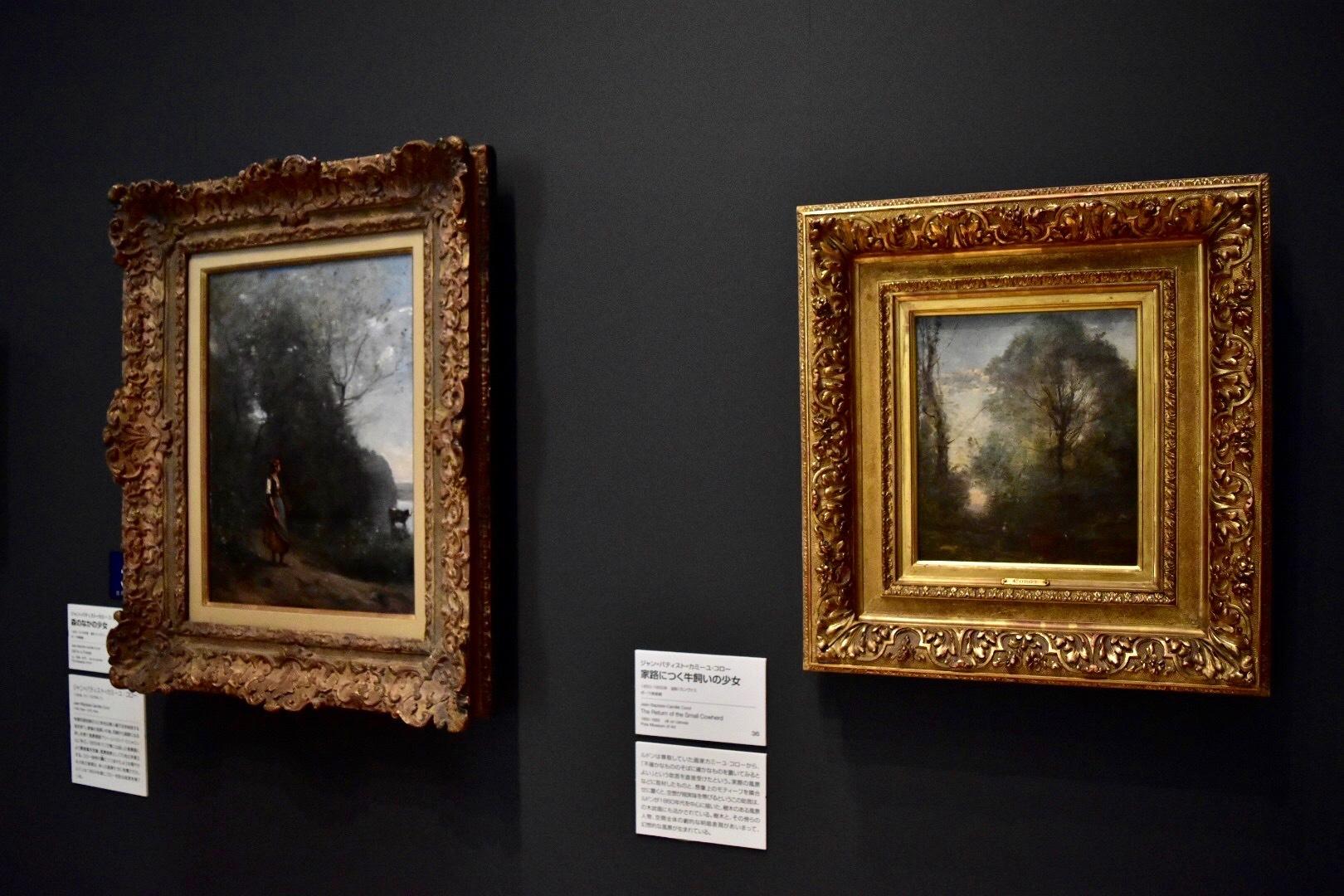 左:ジャン=バティスト=カミーユ=コロー 《森のなかの少女》1865-1870年頃 ポーラ美術館 右:ジャン=バティスト=カミーユ=コロー 《家路につく牛飼いの少女》1850-1855年 ポーラ美術館