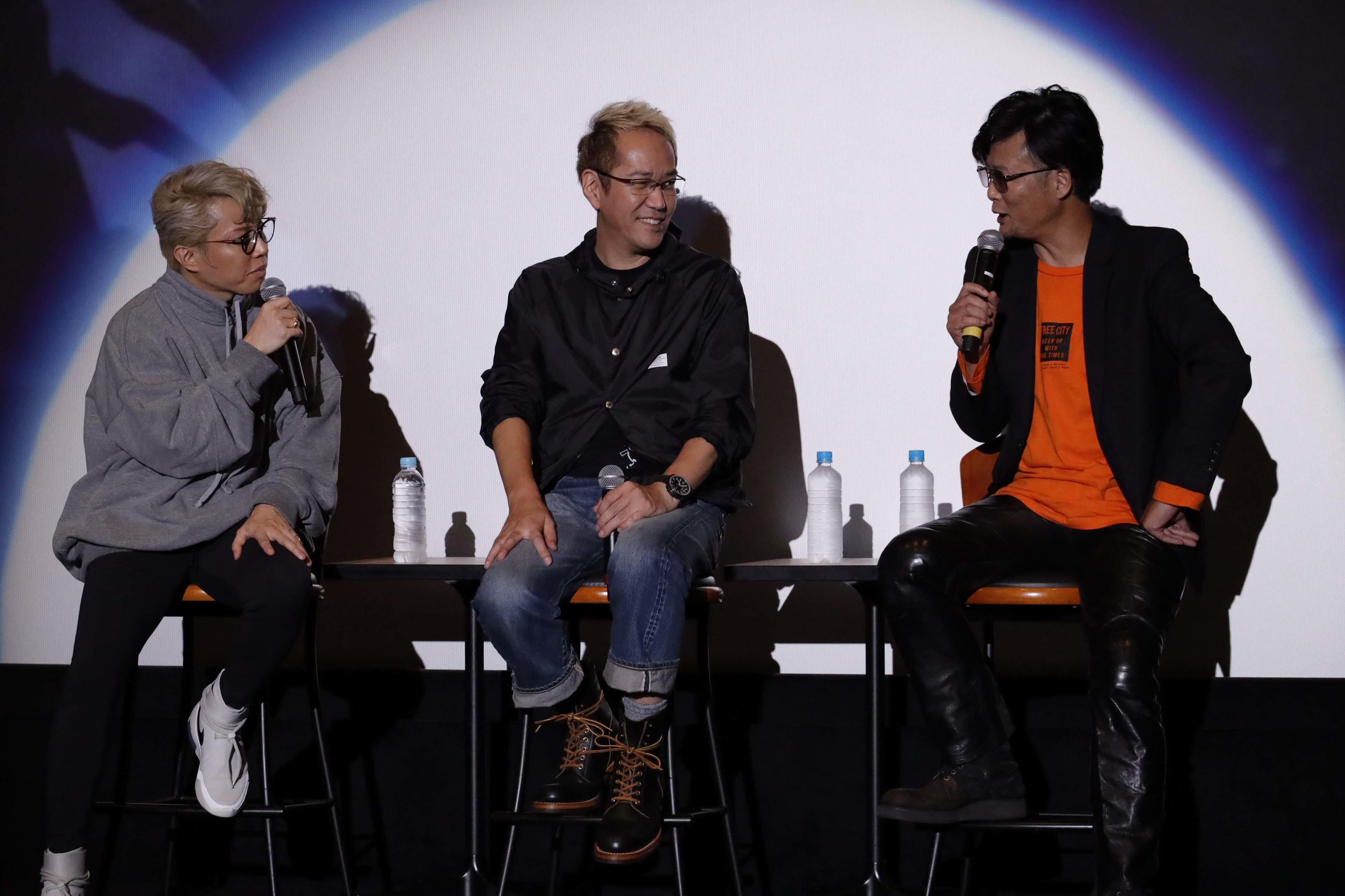 左から、西川貴教、神山健治監督、A.T.氏